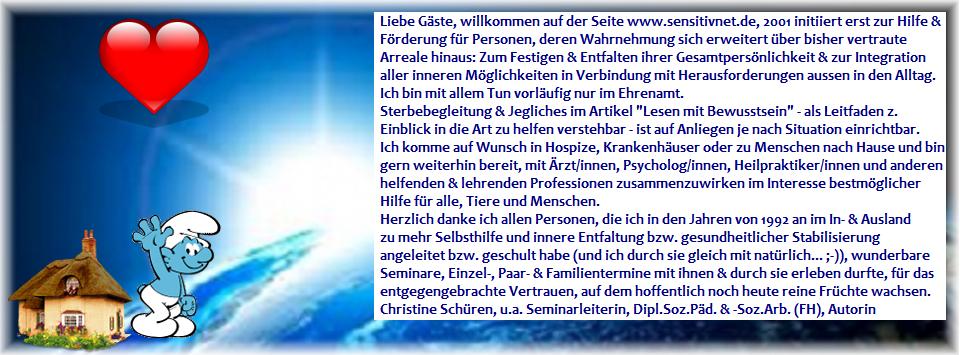 sensitivnet.de – Christine Schüren – Hilfe u. Förderung in der Entwicklung v. Tier u. Mensch